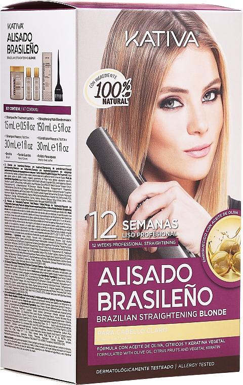 Sada na keratínové vyrovnanie vlasov, pre blondínky - Kativa Alisado Brasileno Straighten Blonde (shm/15ml + mask/150ml + shm/30ml + cond/30ml)