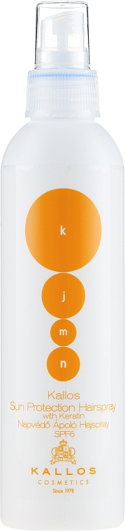 Sprej na vlasy s keratínom - Kallos Cosmetics Sun Protection Hairspray With Keratin SPF6