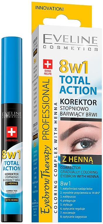 Korektor na obočie - Eveline Cosmetics Eyebrow Therapy 8in1 Total Action ECorrector Gradually Coloring Eyebrow With Henna