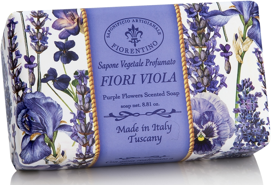 "Prírodné mydlo ""Fialové kvety"" - Saponificio Artigianale Fiorentino Purple Flowers Scented Soap"