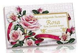 """Voňavky, Parfémy, kozmetika Sada prírodných mydiel """"Ruža"""" - Saponificio Artigianale Fiorentino Rosa Scented Soaps (soap/3pcsx100g)"""