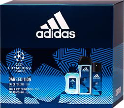 Voňavky, Parfémy, kozmetika Adidas UEFA Dare Edition - Sada (sh/gel/250ml + deo/spray/150ml + edt/100ml)
