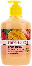 """Voňavky, Parfémy, kozmetika Krém-mydlo s olejom z kamélie """"Mango a Carambola"""" s dávkovačom - Fresh Juice Mango & Carambol"""