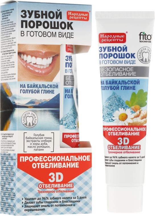 """Zubný prášok v hotovej forme na modrej hline Baikal """"3D"""" - Fito Kozmetic Ľudové recepty"""