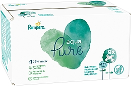 Voňavky, Parfémy, kozmetika Detské vlhčené utierky, 9x48 ks - Pampers Aqua Pure Wipes