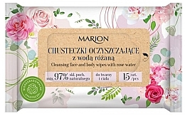 Voňavky, Parfémy, kozmetika Čistiace utierky na tvár a telo s ružovou vodou, 15ks - Marion
