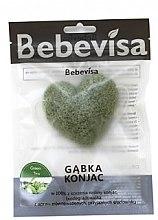 """Voňavky, Parfémy, kozmetika Hubka na umývanie, srdce """"Zelený čaj"""" - Bebevisa Konjac Sponge"""