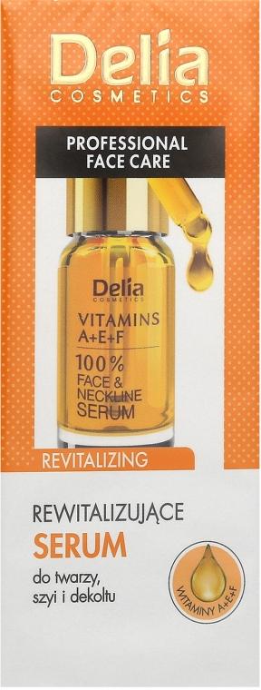 Revitalizujúce intenzívne sérum proti starnutiu proti vráskam na tvár a krk s vitamínmi A, E, F - Delia Face Care Anti-Wrinkle and Revitalizing Face Neckline Intensive Serum — Obrázky N1
