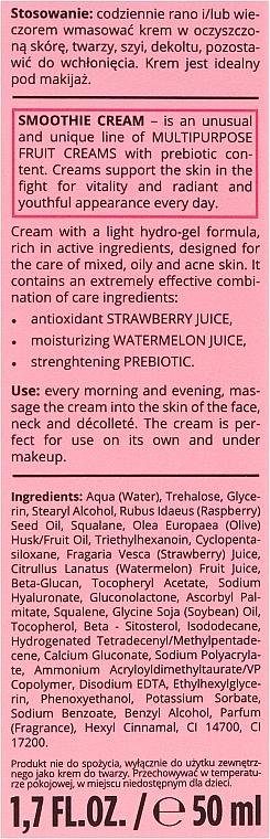 """Hydratačný krém na tvár """"Melón a jahoda"""" - Bielenda Smoothie Cream — Obrázky N3"""