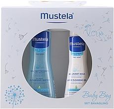 Voňavky, Parfémy, kozmetika Sada - Mustela Baby Boy Bavaglino Set Blue (gel/200ml + water/300ml + bib)