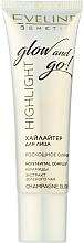 Voňavky, Parfémy, kozmetika Rozjasňovač na tvár - Eveline Cosmetics Highlight Glow And Go