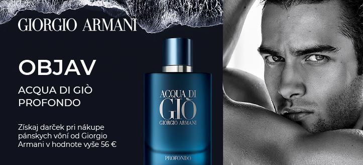 Pri nákupe pánskych vôní Giorgio Armani v hodnote vyše 56 € získaj Acqua di Giò Profondo ako darček