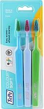 Voňavky, Parfémy, kozmetika Sada zubných kefiek, 3ks, modrá + modrá + zelená - TePe Colour Soft