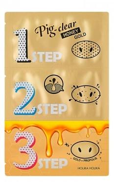 Sada prostriedkov na čistenie pórov - Holika Holika Pig Nose Clear Black Head 3-Step Kit Honey Gold