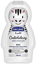 """Voňavky, Parfémy, kozmetika Čistiaci prípravok na vlasy a telo """"Biela čokoláda"""" - On Line Le Petit White Chocolate 3 In 1 Hair Body Face Wash"""