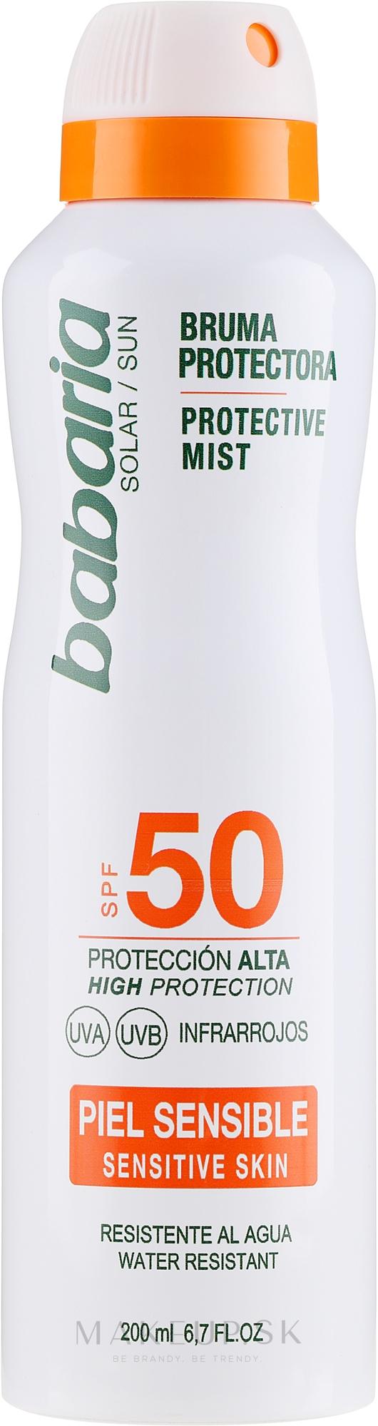 Telový sprej s SPF ochranou - Babaria Protective Mist For Sensitive Skin Spf50 — Obrázky 200 ml