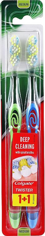 Zubná kefka, stredná, zelená + modrá - Colgate Twister Medium — Obrázky N1