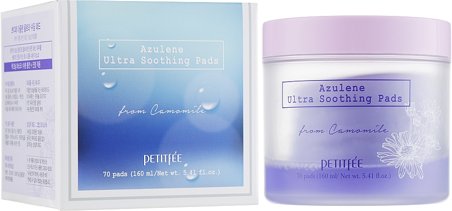Ultra upokojujúce očné vankúšiky na čistenie na tonizáciu - Petitfee&Koelf Azulene Ultra Soothing Pads