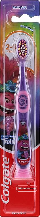 Detská zubná kefka, 2-6 rokov stará, fialovo-ružová - Colgate Smiles Kids Extra Soft — Obrázky N1