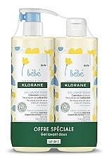 Voňavky, Parfémy, kozmetika Sada - Klorane Bebe Gentle Cleansing Gel (sh/gel/500ml + sh/gel/500ml)