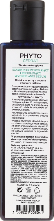 Šampón na vlasy - Phyto Phytocedrat Purifying Treatment Shampoo — Obrázky N2