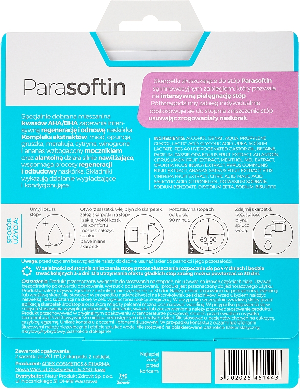 Prostriedok na peeling nôh - Parasoftin Exfoliating Foot Treatment Socks — Obrázky N2