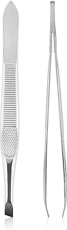 Skosená pinzeta na obočie, 499374, strieborna - Inter-Vion — Obrázky N1