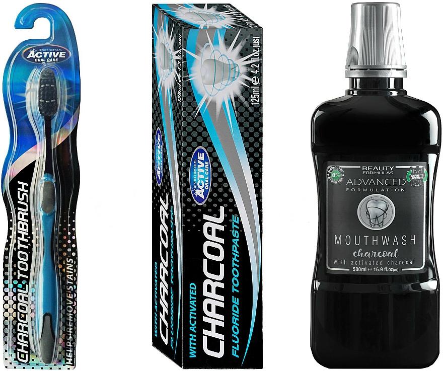 Sada - Beauty Formulas Charcoal (mouthwash/500ml + toothbrush/1pcs + toothpaste/125g)