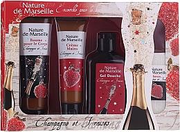 """Voňavky, Parfémy, kozmetika Sada """"Jahoda a šampanské"""" - Nature De Marseille (sh/gel/150ml +cr/60ml + b/balm/100ml + soap/95g)"""
