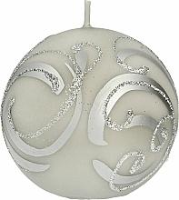 Voňavky, Parfémy, kozmetika Dekoratívna sviečka, guľa, šedá so vzorom, 8 cm - Artman Christmas Ornament