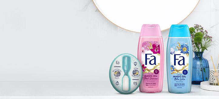 Pri nákupe akciových výrobkov Fa v hodnote vyše 5 € získaj presýpacie hodiny do sprchy ako darček