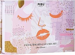 Voňavky, Parfémy, kozmetika Sada - Pibu Beauty Rose Quartz Facial Roller & Gua Sha Set (massager/2pcs)