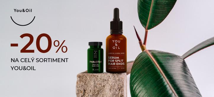 Zľava 20% na celý sortiment You&Oil. Ceny na webovej stránke sú uvedené so zľavou