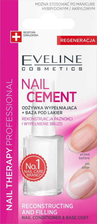 Kondicionér-báza na nechty - Eveline Cosmetics Nail Cement Conditioner & Base Coat