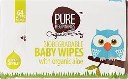 Voňavky, Parfémy, kozmetika Vlhčené utierky s Aloe, 64 ks - Pure Beginnings Biodegradable Aloe Baby Wipes