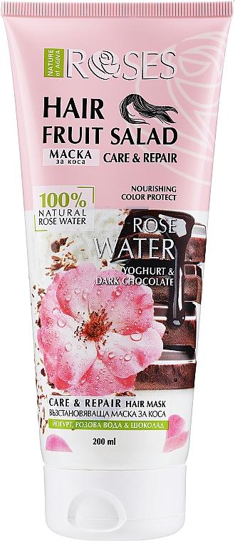 "Maska na vlasy ""Ruža, čokoláda, jogurt"" - Nature of Agiva Roses Hair Fruit Salad Hair Mask"