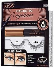 Voňavky, Parfémy, kozmetika Sada - Kiss Magnetic Eyeliner & Lash Kit Lure (eyeliner/5g + lashes)