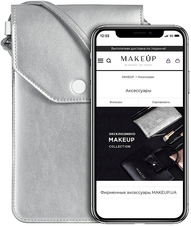 """Púzdro a taška na mobil s remienkom, strieborná """"Cross"""" - Makeup Phone Case Crossbody Silver"""