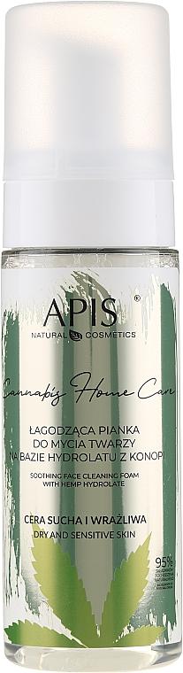 Upokojujúca čistiaca pena na tvár na báze hydrolátu z kanabisu - APIS Professional Cannabis Home Care Soothing Face Cleaning Foam