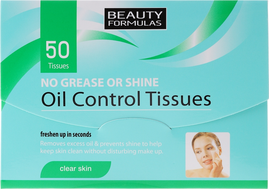 Matujúce obrúsky pre tvár - Beauty Formulas Oil Control Tissues