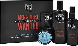Voňavky, Parfémy, kozmetika Sada - American Crew Men's Most Wanted Strong Hold (shm/250ml + cr/50g + spray/100ml + balm/7.4ml)