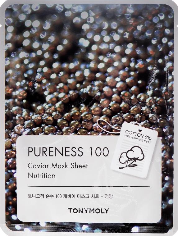 Textilná maska s čiernym kaviárovým extraktom - Tony Moly Pureness 100 Caviar Mask Sheet