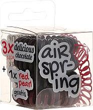 Voňavky, Parfémy, kozmetika Gumičky do vlasov čokoládové+červené, 4 ks - Hair Springs