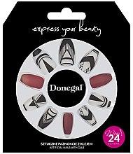 Voňavky, Parfémy, kozmetika Sada umelých nechtov, červená s bielou - Donegal Express Your Beauty