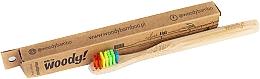"""Voňavky, Parfémy, kozmetika Detská bambusová zubná kefka """"Colour"""", rôznofarebné štetiny - WoodyBamboo Bamboo Toothbrush Kids Soft/Medium"""