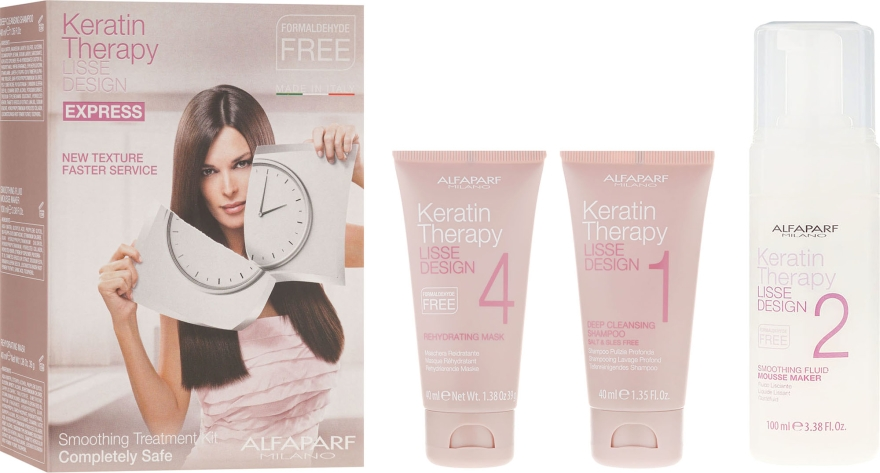Sada na procedúru keratínovej obnovy - Alfaparf Milano Lisse Design Keratin Therapy Smoothing Treatment Kit (shmp/40ml + moose/100ml + hair/mask/40ml)