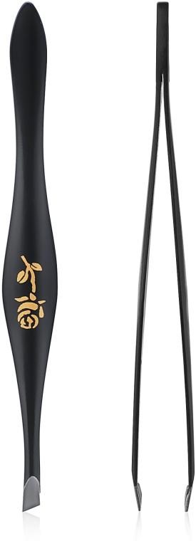 Zkosená pinzeta na obočie v tvare hrušky, 499289, čierna - Inter-Vion Rose Around Pear
