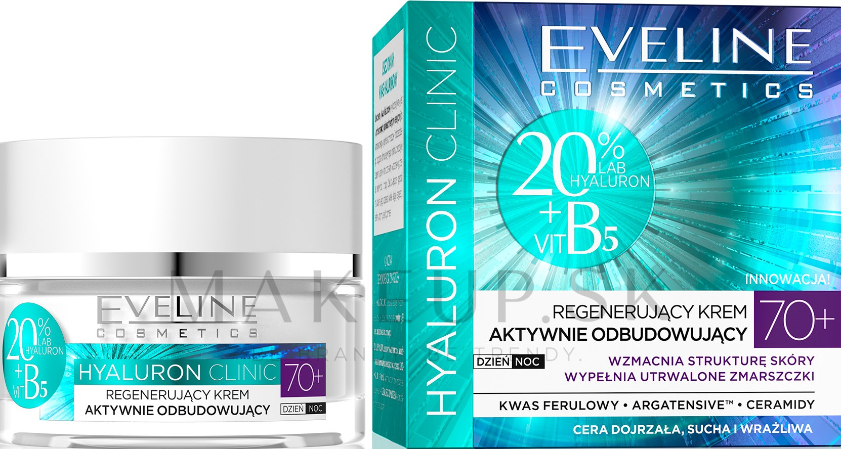 Krém na tvár, regeneračný - Eveline Cosmetics Hyaluron Clinic 70+ — Obrázky 50 ml