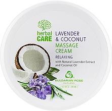 Voňavky, Parfémy, kozmetika Masážny krém s relaxačným účinkom - Bulgarian Rose Herbal Care Lavender & Cococnut Massage Cream