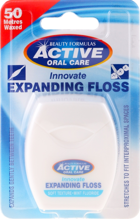 Mäkká dentálna niť s mätou a fluoridom - Beauty Formulas Active Oral Care Expanding Floss Mint With Fluor 50m
